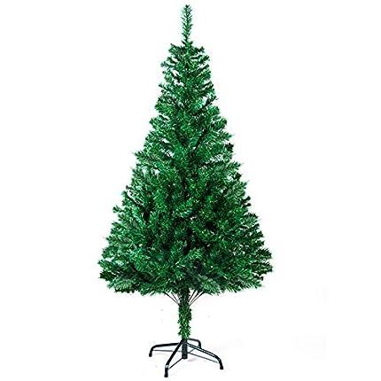 SunJas Árbol de Navidad Artificial Árbol Espeso y Lujo Verde/Blanco/Nevado con Copos de Nieve Blancos y Piñones de Pino Soporte Metálico Árboles 120cm-210cm (200-700Ramas) - 120cm, 200 Ramas, Verde