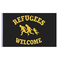 Flagge schwarz mit Motiv Refugees Welcome (klassisch) 150x100 cm von Impact Mailorder