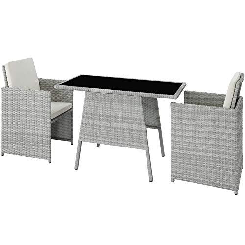TecTake 800682 Polyrattan Sitzgruppe für 2 Personen, zusammenschiebbar, 2 Stühle & 1 Tisch mit Glasplatte, inkl. Sitz- und Rückenkissen – Diverse Farben – (Hellgrau | Nr. 403732)