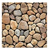 Fabulous Décor: Wall Tiles, Soft 3D Thick Gel Decals, Brown River Stone Design, DIY Peel and Stick, Self-Adhesive, Backsplash, Kitchen, Bathroom, Water and Heat Resistant 11.8 x 11.8 (10 Tiles)