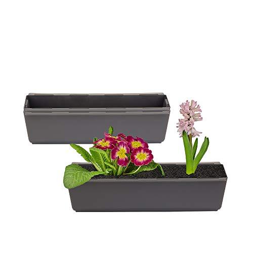 BigDean 2er Set Pflanzkasten inkl. Aufhänger für Europalette - Blumenkübel in Anthrazit - LxBxH ca. 37 x 13,5 x 9,5 cm - Ideal zum Hängen & Stellen - Robust & wetterfest -