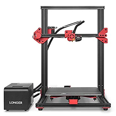 LONGER LK1 90% Pre-Assembled 3D Printer with Large Build Size 300x300x400mm, Full Touch Screen, Filament Detector, Resume Printing, Full Metal Frame (Red)