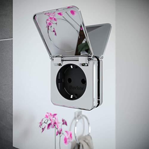 Spiegel ID ZUSATZOPTION für LED Badspiegel | Steckdose (230V Anschluss auf der Spiegeloberfläche) | Position: unten rechts | Farbe: Chrom