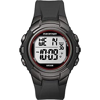 Marathon by Timex Men s T5K642 Digital Full-Size Gunmetal Gray/Red Resin Strap Watch