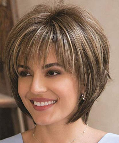Short Brown Wigs with Highlights Dark Brown Mixed Blonde Wigs with Bangs for White Women Natural Real Hair Synthetic Wig