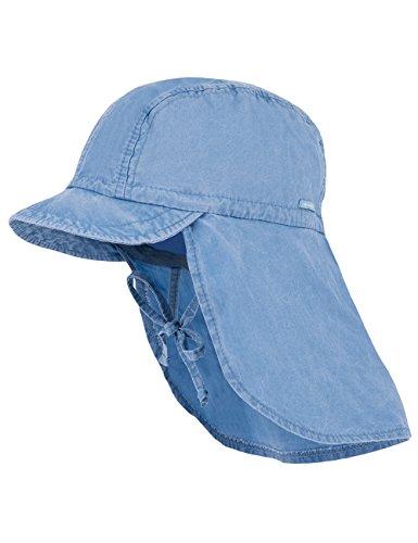 maximo Baby-Jungen Schildmütze, Nackenschutz, Bindeband, Waschoptik Mütze, Blau (Denim Blue 40), 49