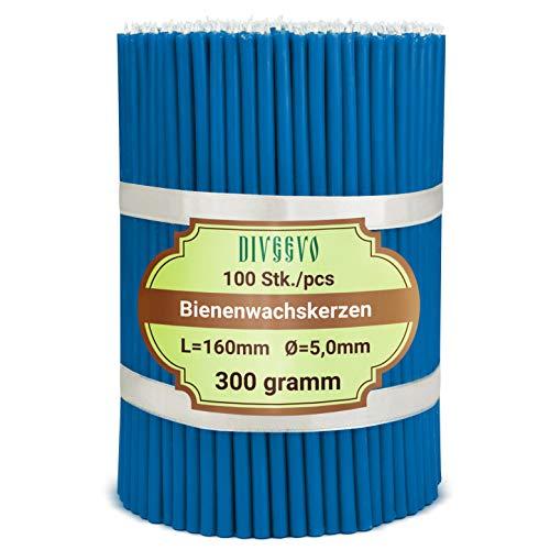 Velas de cera de abeja azul, 100 unidades, 16 cm de largo, 5 mm de diámetro, duración de combustión: 30 min; natural, sin goteo, sin humo, calidad fina iglesia, cera de abeja №140