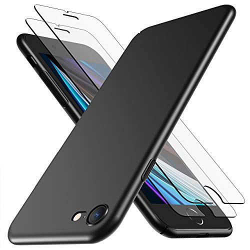 RANVOO Compatible with iPhone SE 2020 Case with 2 Screen Protector Full Protective, Slim Fit [Anti-Fingerprint] [Anti-Scratch] Cover Ultra-Thin Hard Case for iPhone SE 2nd/ 8/7 (Black)