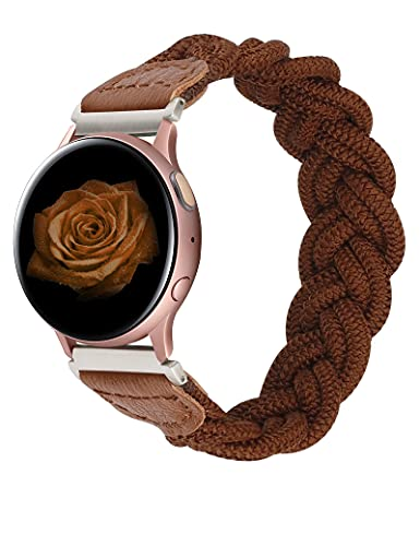 Wearlizer Elastic Band Compatible with Samsung Galaxy Watch Active 2 40mm 44mm/ Galaxy Watch 3 41mm/ Galaxy Watch 42mm/ Garmin Vivoactive 3 Bands, 20mm Stretchy Braided Strap for Women (Brown, L)