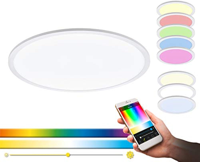 LED Deckenleuchte SARSINA-C von EGLO - Smart Home Deckenlampe aus Alu in wei mit 34W - EGLO Connect Deckenleuchten mit Farbwechsel und über Fernbedienung steuerbar, Fernbedienung inklusive