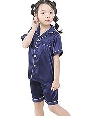 女の子 パジャマ キッズ 寝巻き 子供服 tシャツ 上下セット 前開き パジャマシルク 男の子 部屋着 ルームウェア 男女兼用 春夏 半袖 or長袖 3色100-160cm