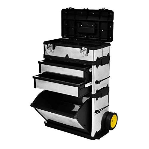 vidaXL Werkzeugkasten 3-tlg. Edelstahl Silber Werkzeugtrolley Werkzeugkiste