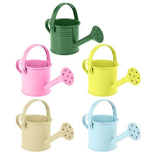 Housoutils - Regadera de 5 piezas para niños pequeños con riego, estaño pintado, para jardín, yarde, casa, plantas, flores (estilo mixto)