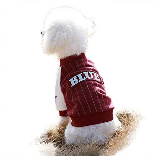 feiling gestreept hondenshirt, kleine hondenjas, baseball, jersey, hondenkostuum, katoen, katten, gilet vest, hondenpullover middelgrote honden, huisdier, sportjas, Small, rood