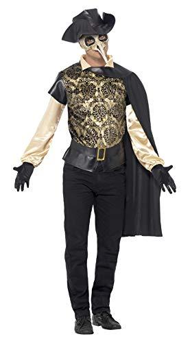 Smiffys-43742M Disfraz de mdico de la poca de la Peste, con Parte de Arriba, Capa, Guantes y, Color Negro, M-Tamao 38'-40' (Smiffy'S 43742M)