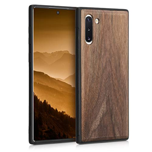 kwmobile Wooden Cover Compatible with Samsung Galaxy Note 10 - Hard Case with TPU Bumper - Dark Brown