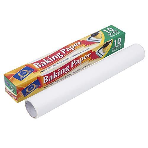 Papel para hornear DTD SIN CALABAZA / CALIDAD ALIMENTARIA / MICROONDAS Y HORNO Rollo de papel SEGURO Perfectamente útil y cómodo para hornear, galletas, pizzas | Tamaño y peso: 300 mm X 10 M X 35 g