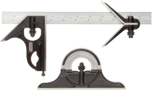 Starrett C434-12-4RW/SLC Forged, Hardened Square, Center And Reversible Protractor Heads With Blade Combination Set, Smooth Black Finish, 4R Graduation, 12