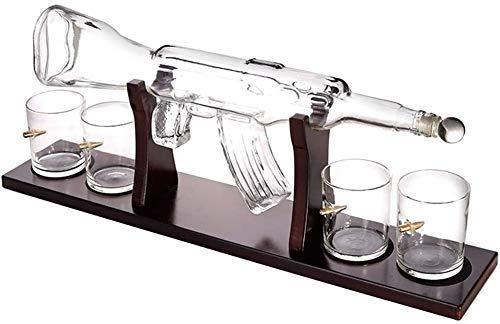 PIVFEDQX Juego De Jarra De Whisky De 800 Ml Elegante Jarra De Whisky con Rifle con 4 Cartuchos Y Base De Pino Vidrio Blanco Alto Sin Plomo