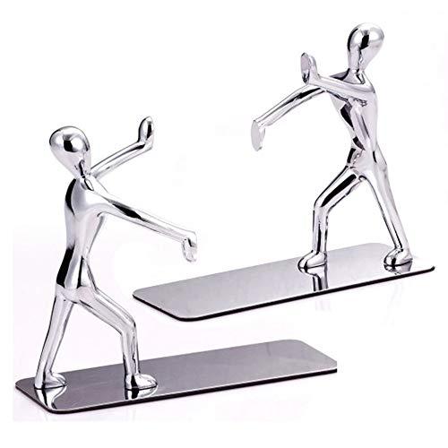 MINGZE 1 par / 2 piezas Sujetalibros, Sujetalibros de metal de estilo Kung Fu sencillo antideslizante soporte de escritorio para libros para estantes, mesa, oficina y hogar
