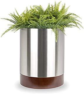 NMN Designs Knox Modern Stainless Planter with Hardwood Base - 18