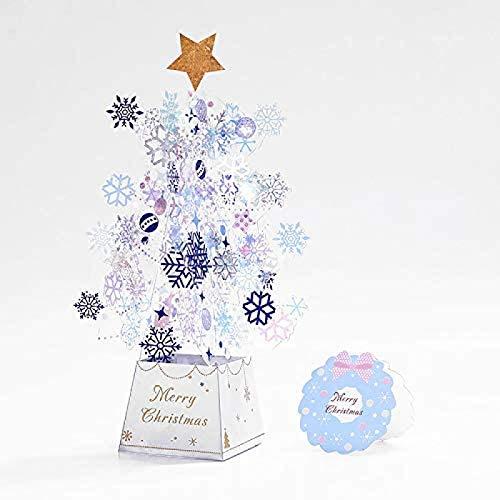 HHYSPA Christmas Tree Pop-Up Card 3D Xmas Greeting Gift ,3D Card Pop-Up Card Christmas Greeting Card Christmas Card Stars Xmas Gift Holiday Postcards(Blue) Blue