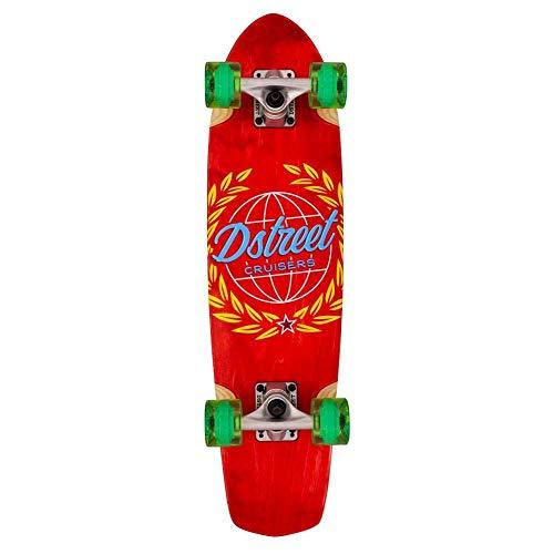 DSTREET Cruiser Atlas Skateboard, Unisex, Erwachsene, Rot (Red), 28 Zoll