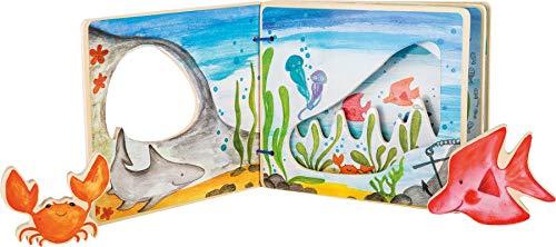 small foot 10840 Livre d´images Monde sous-marin, interactif en bois, avec motifs colorés et poissons, à partir de 12 mois