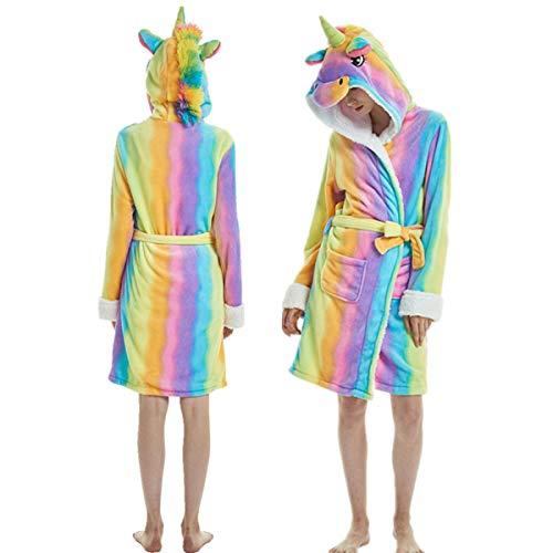 Kylewo Eenhoorn Hooded Badjas Slaapmode - Volwassen Dier Zachte Korte Hooded Fleece Eenhoorn Cosplay Badjas Dressing Jurk
