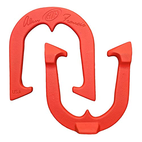Alan Francis Signature Professional Pitching Horseshoes- Made in The USA (Red- Single Pair (2 Shoes))