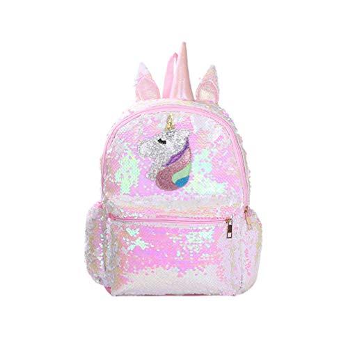 Zaino rosa lucido per ragazze con paillettes, motivo unicorno, adorabile, alla moda, per studenti, ragazze Rosa rosa 24*10*34cm