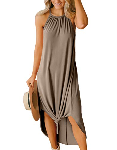 Women Halter Maxi Dress Casual Lightweight Side Slit Long Loose Beach Sleeveless Sundress Khaki M