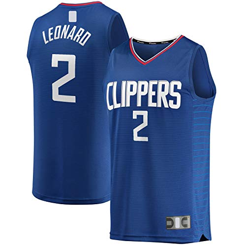 LANHUA Fast Break JerseyCustom #2 Kawhi LA Basketball Jersey Clippers T-Shirt #2 Leonard Top Sin Mangas Azul - Icon Edition-S