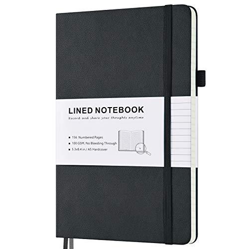 Liniert Notizbuch, Hardcover Notizbücher mit nummerierten Seiten und Index Inhalt, 2 Innentaschen, 2 Lesezeichen, 100 GSM dickes Papier A5 Medium Gefüttertes Notizheft, Schwarz
