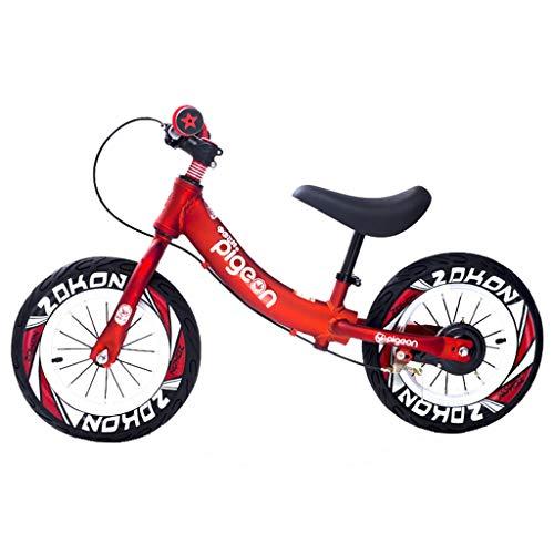 Bicicleta sin pedales Bici Bicicleta de Equilibrio con Freno de Mano - Bicicleta Deportiva para niños sin Pedales para 2, 3, 4, 5,6 años Niños/Niñas/Niños, 12 Pulgadas (Color : Red)