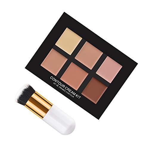 Lurrose 2pcs professionnel 6 couleurs correcteur de maquillage camouflage contour cosmétiques concealer avec brosse pour Dame