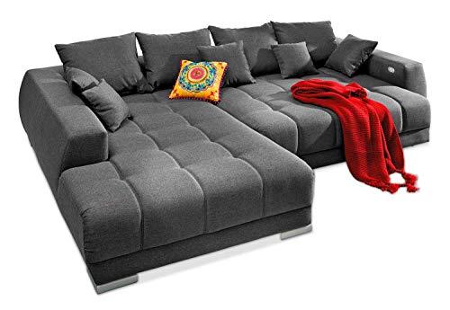 Möbel Jack Polstergarnitur Wohnzimmercouch Wohnlandschaft | Webstoff | Grau | 300x225 cm | Elektrisch verstellbar