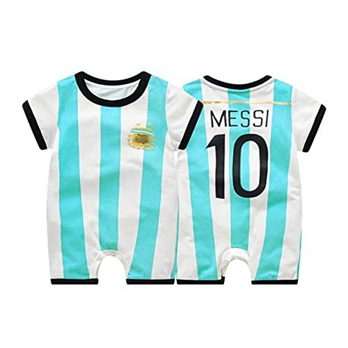 DHRBK Mamelucos para bebés Niños Niñas Pijamas para recién Nacidos Mono Leo Messi # 10 Onesies de Manga Corta Traje de Dormir Trajes Ropa de Dormir para 0-24 Meses