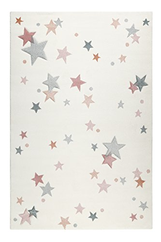 Esprit I Moderner Kurzflor Kinderteppich, Kinderzimmer I Jonne I ESP-4639-060 I Rosa Blau Grau Weiß I (133 x 200 cm)