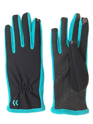Isotoner Smart Touch Womens Black & Baltic Teal Tech Text Gloves Smartouch XS/S