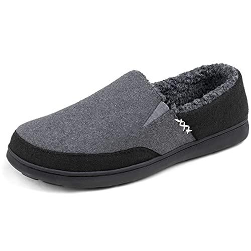 Zigzagger Zapatillas para el hogar con mocasín de microgamuza Fuzzy para Hombre, Gris, 43 EU Mpara el hogar con mocasín de microgamuza Fuzzy para Hombre, Gris, 43 EU M