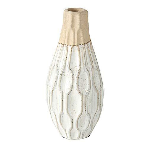 CasaJame Steingut Design Vase Keramik mediterran, Blumenvase modern Creme, Tischvase Beige, Weiß, Dekoration 25 x 10 cm
