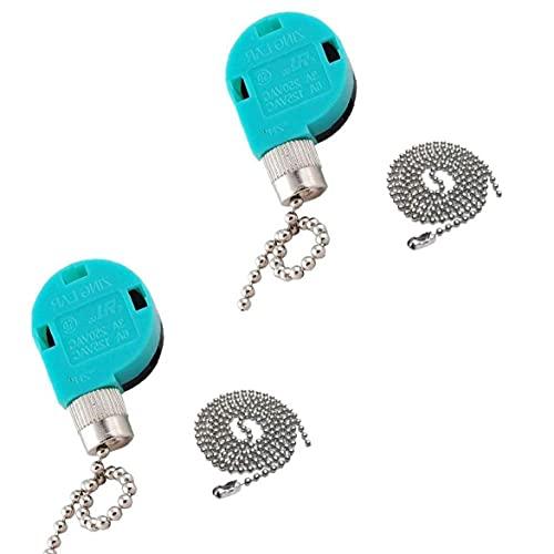 Yililay Interruptor del Ventilador de Techo, 3 Velocidad 4 Alambre de Techo Interruptor del Ventilador Interruptor del Ventilador con la Cadena de tracción para el hogar lámpara de luz 2 Piezas
