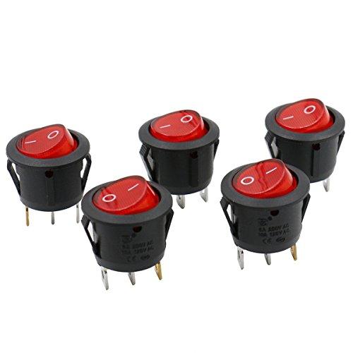 Heschen Interruptor basculante redondo de encendido y apagado SPST 3 terminales 24 V luz roja 6 A 250 VAC 5 unidades