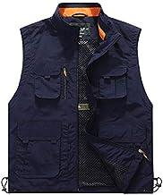 FEVIJNB jachtvest heren vest zomer heren mouwloos vest met meerdere zakken, lente herfst casual multifunctionele reis outd...