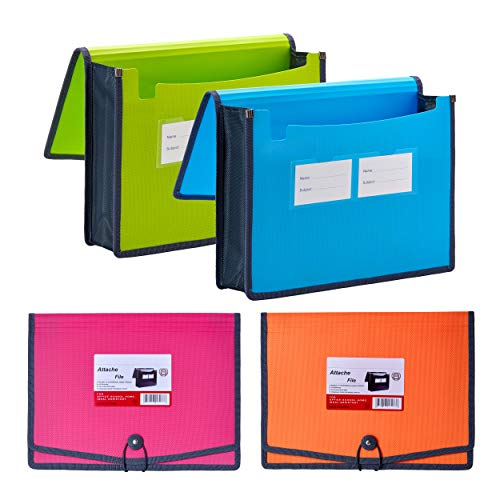 """FANWU 4 Pack Plastic Expanding File Wallet Document Organizer with Elastic Cord & Button Closure, Letter Size, 3.5"""" Expansion, Poly A4 Expandable File Folder for School Office Home Organization"""