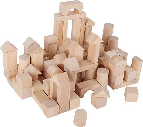 small foot 7073 Naturbausteine aus Holz, Steine in verschiedenen Formen, im Leinenbeutel zur Aufbewahrung, ab 3 Jahren