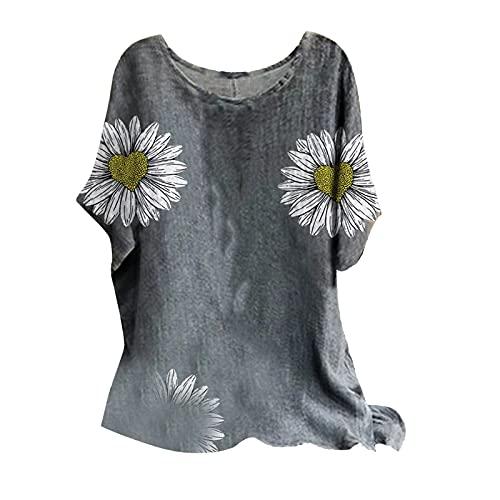 FMYONF Abbigliamento in lino, corsetto da donna, girocollo, camicia lunga, camicia casual, retro ricamato, alla moda, in cotone e lino, traspirante, per il tempo libero, B-giallo, XL