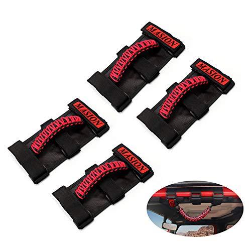MASION Paracord Roll Bar 3 Cinghie Maniglie per rollbar da 2 a 3 Pollici per la Maggior Parte dei Modelli Jeep Wrangler TJ CJ YJ JK JKU JLU (Sport, Willys, Sahara, Rubicon) 1986-2020
