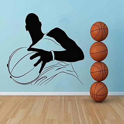 Baloncesto Vinilo Adhesivo Sala De Estar Habitación Para Niños Dormitorio De Niño Mural Decorativo 61X57Cm